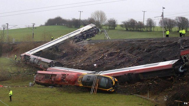 Train wreckage in the aftermath of Grayrigg train crash