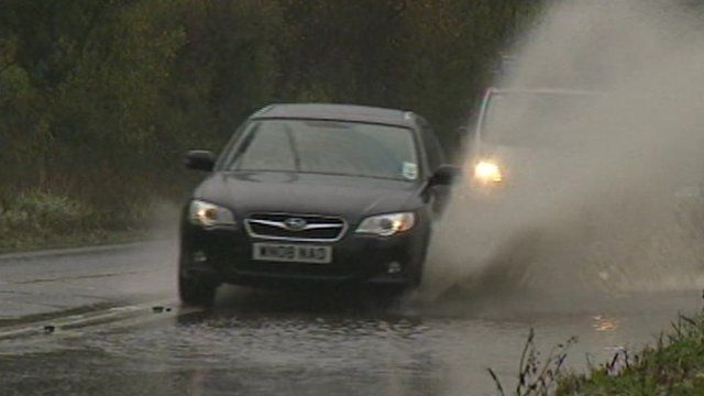 Car in flooded water