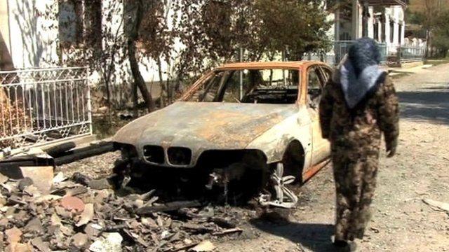 Burned car in Kyrgysztan