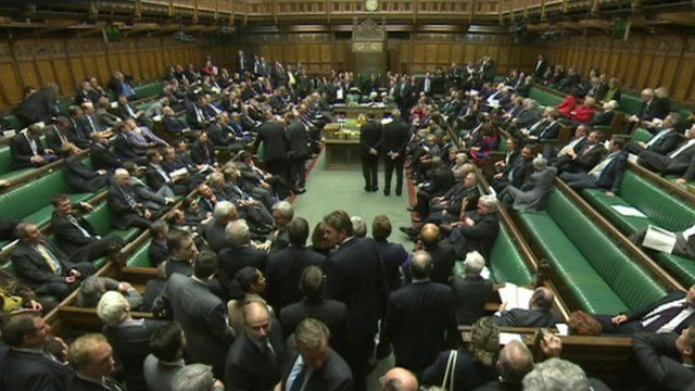 MPs gather in the House to hear the result of the vote
