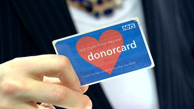 An NHS donor card
