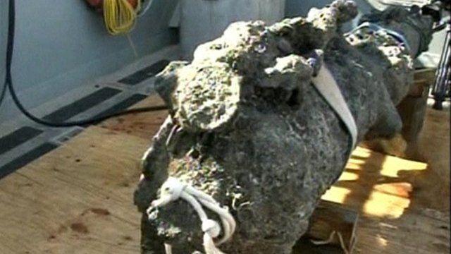 Sand-encrusted cannon from Blackbeard's ship