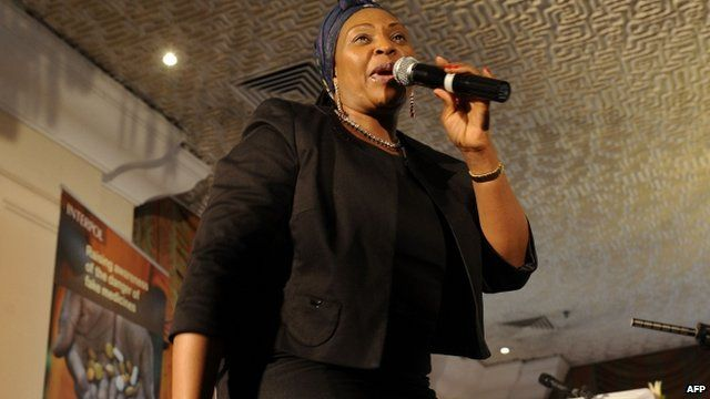 South Africa's Yvonne Chaka Chaka performs during launch of a campaign to tackle counterfeit medicines (27 October 2011)