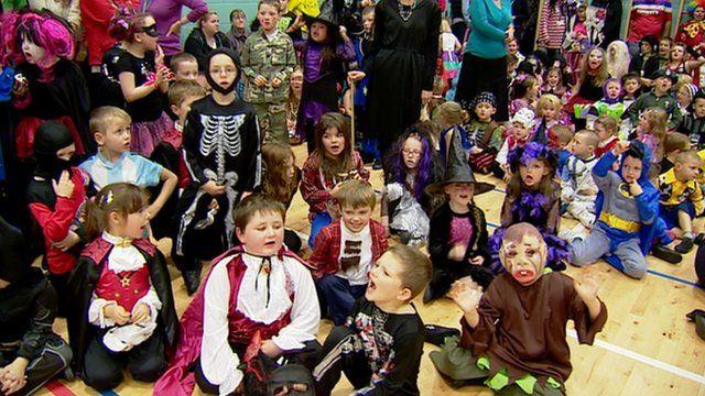 Children in fancy dress for Halloween