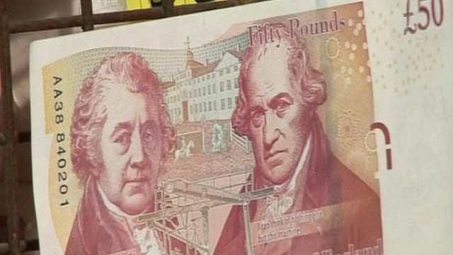 A new £50 bank note featuring James Watt and his business partner Matthew Boulton