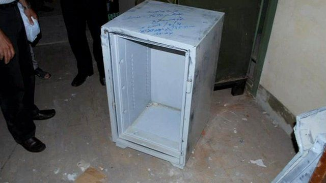 The empty safe raided by thieves in Benghazi