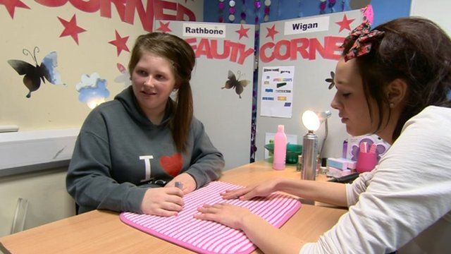 Teenagers in Wigan learning beauty therapy