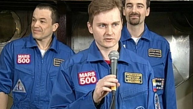 Three of the crew who completed the simulated Mars mission