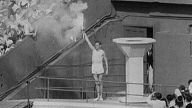 Pathe picture showing Olympic torch in London in 1948