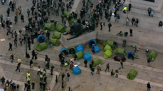 Tents put up at base of Nelson's Column in Trafalgar Square, London