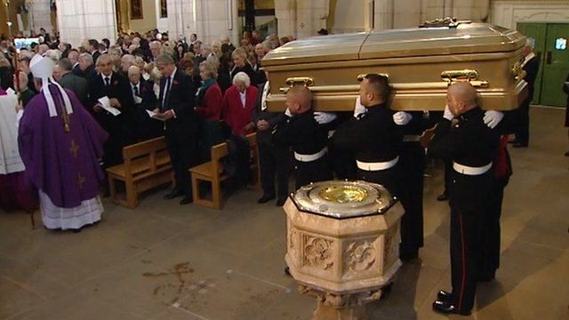 Sir Jimmy Savile's coffin brought into cathedral