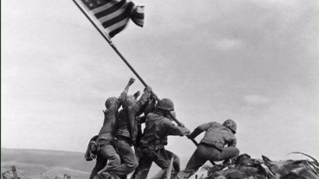 Iwo Jima flag raising. Credit: Joe Rosenthal, February 23, 1945, The Associated Press