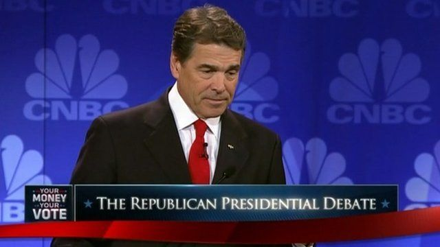 The governor of Texas Rick Perry forgets which US government department he would like to cut.