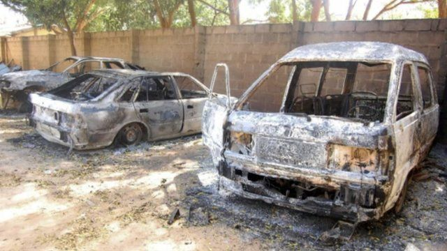 Burnt out cars in the town of Damaturu