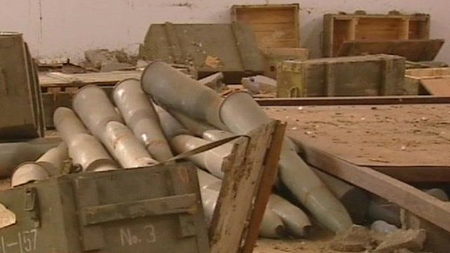 Weapons shells and ammunition lying discarded in Libya