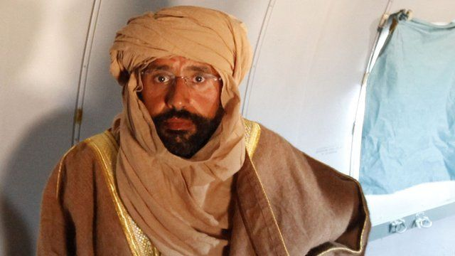 Saif al-Islam Gaddafi on a plane in Zintan