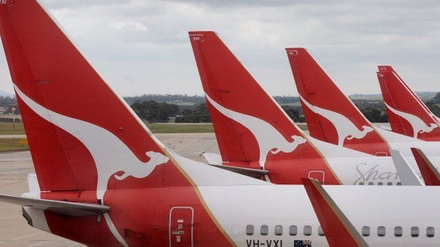 Qantas planes at Melbourne Airport