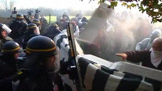 Nuclear protesters and police clash in north-western France
