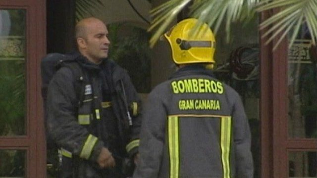 Fire fighters outside the hotel in Gran Canaria