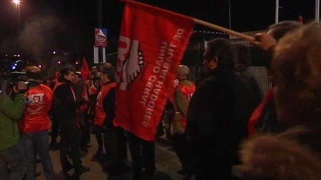 Portuguese workers walking out on strike
