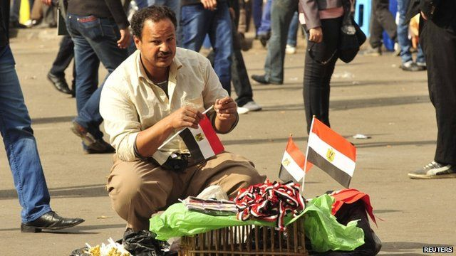 Man selling flags in Cairo