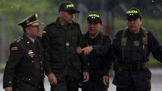 Colombian police sergeant Luis alberto Erazo arrives at the airport in Bogota