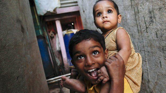 Children in Dharavi, Mumbai's largest slum