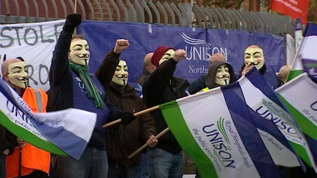 Strikers on the picket line in Belfast