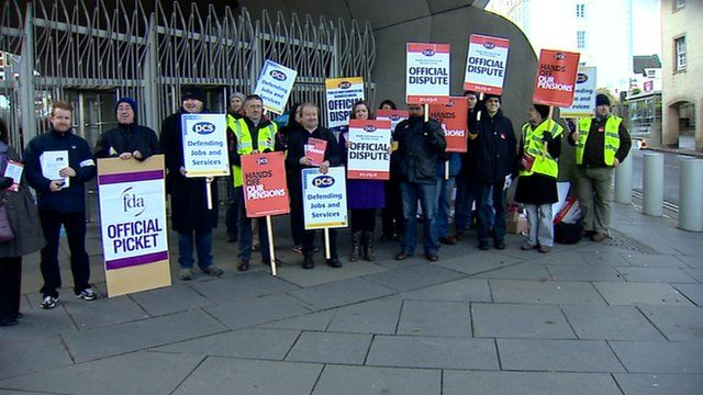 Public sector strike picket line at the Scottish Parliament