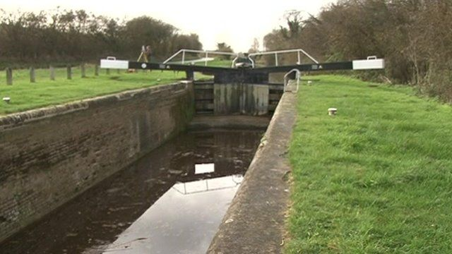 Low water levels at a canal