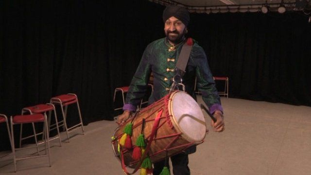 Johnny Kalsi with his dhol drum