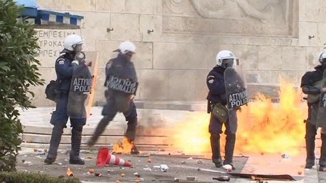 Police with riot gear in Athens