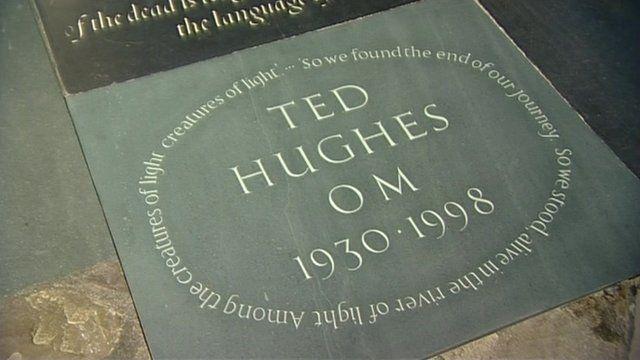 Ted Hughes' memorial stone