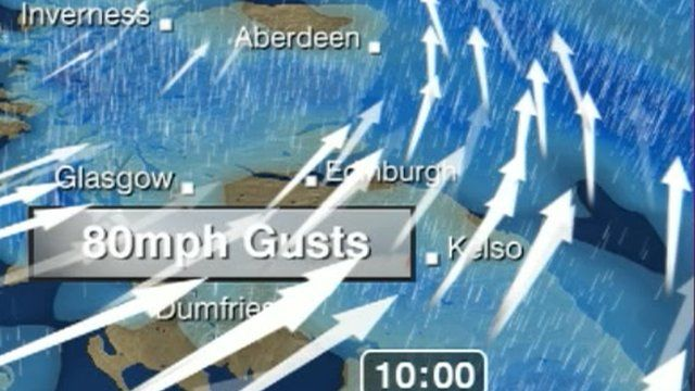 Detail from weather forecast for Scotland