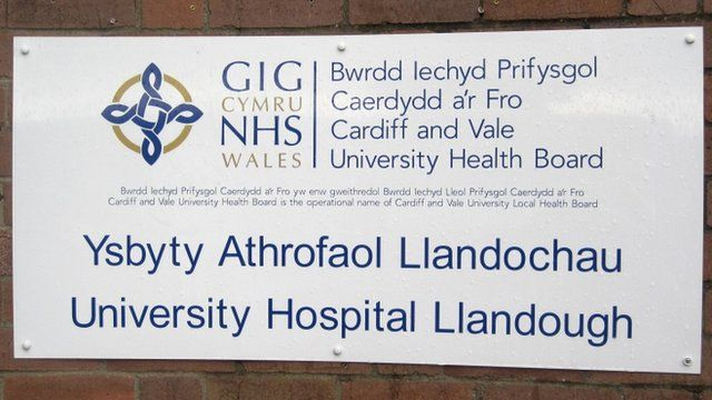 Sign outside Llandough Hospital