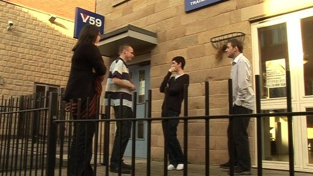 Young people outside a training centre