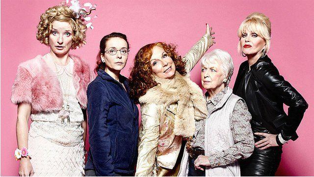 Bubble (Jane Horrocks), Saffy (Julia Sawalha), Edina (Jennifer Saunders), Mother (June Whitfield), Patsy (Joanna Lumley)