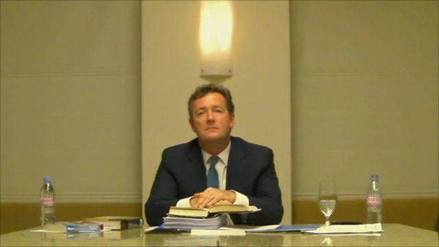 Piers Morgan giving evidence via video link to the Leveson Inquiry
