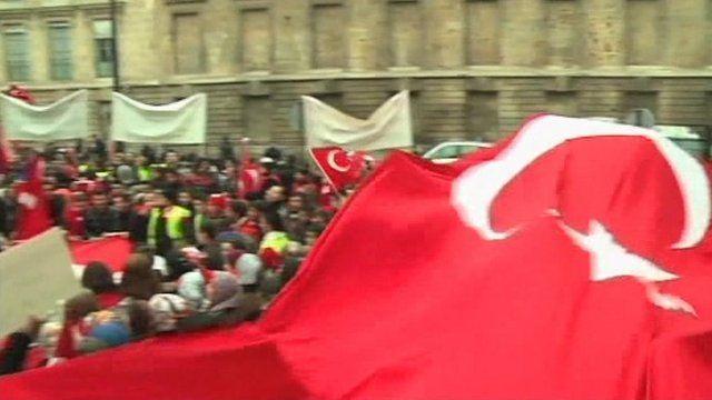 Pro-Turkish demonstrators in Paris