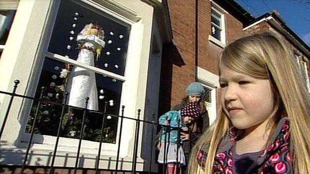 Giant advent calendar window in Derby