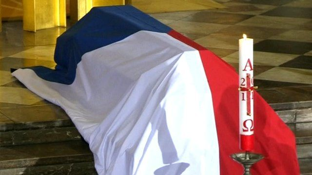 The coffin of former Czech President Vaclav Havel