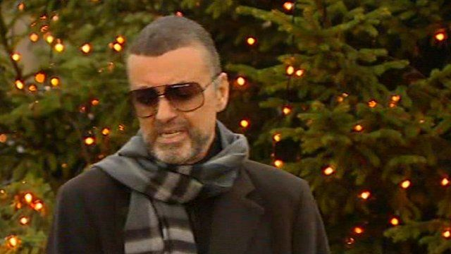 George Michael holds back tears at a press conference in which he discussed his health.