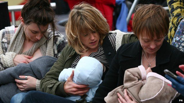 Mothers in Brighton breastfed their babies in public as part of a flashmob