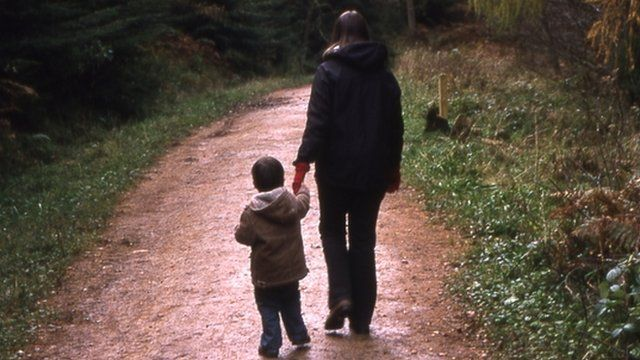 Parent and child walking
