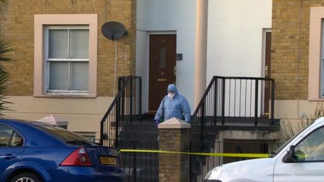 House in Hackney where two people were found with stab wounds