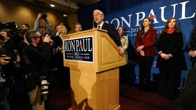 Ron Paul at rally in Des Moines, Iowa