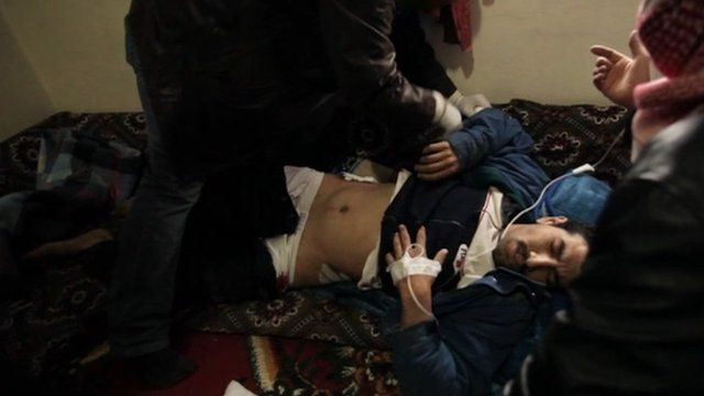 Wounded man receiving treatment in Lebanon