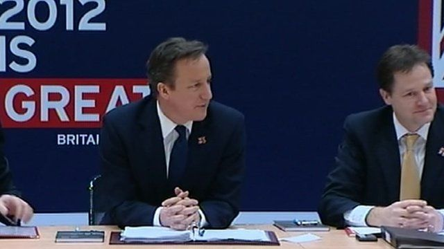 David Cameron and Nick Clegg at a cabinet meeting at the Olympics site in Stratford