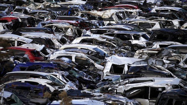 New cars damaged by Japan's 11 March tsunami