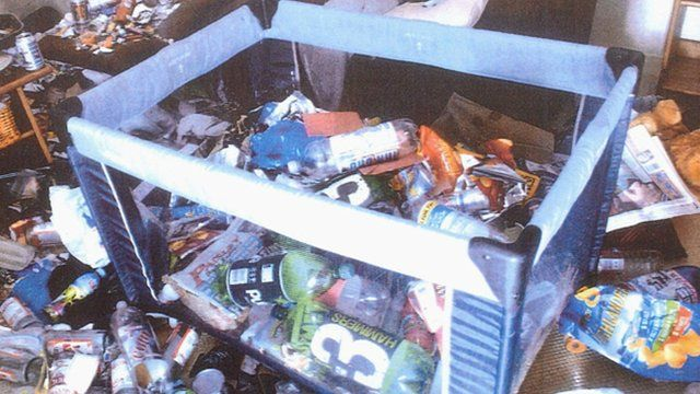 Rubbish in a baby pen in Kimberley Hainey's flat